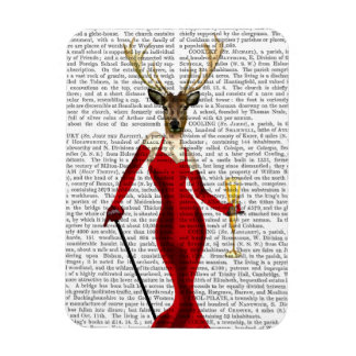 Glamour Deer In Red Rectangular Photo Magnet