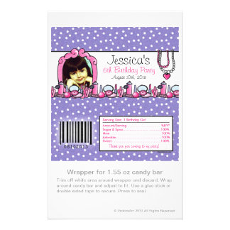 Glamour Girl Birthday Photo Candy Wrapper Full Color Flyer