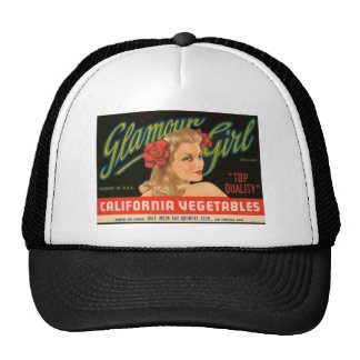 Glamour Girl California Vegetables Vintage Ad Cap