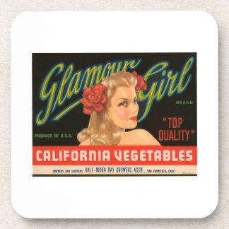 Glamour Girl California Vegetables Vintage Crate L Drink Coaster