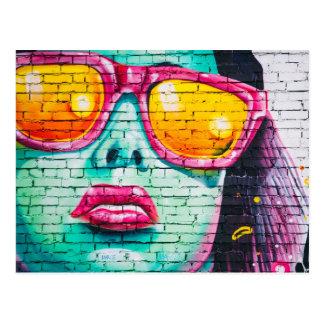 Glamour Girl Graffiti Art Postcard