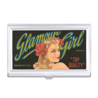 Glamour Girl Retro Vintage Pin Up California Business Card Holder