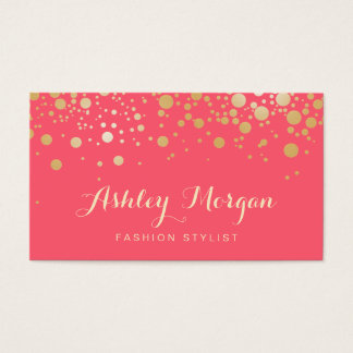 Glamour Gold Dots Decor - Charming Pink Coral Business Card