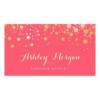 Glamour Gold Dots Decor - Charming Pink Coral Pack Of Standard Business Cards