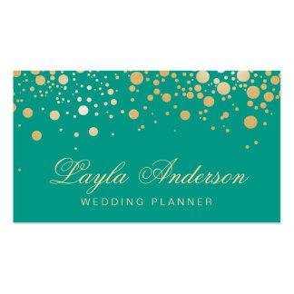 Glamour Gold Dots Decor - Modern Emerald Green Pack Of Standard Business Cards