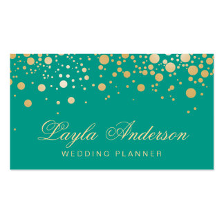 Glamour Gold Dots Decor - Retro Emerald Green Pack Of Standard Business Cards