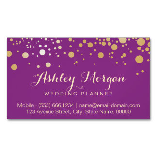 Glamour Gold Dots Decor - Stylish Violet Purple Magnetic Business Cards