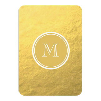 "Glamour Gold Foil Background Monogram 3.5"" X 5"" Invitation Card"