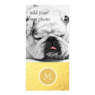 Glamour Gold Foil Background Monogram Photo Greeting Card