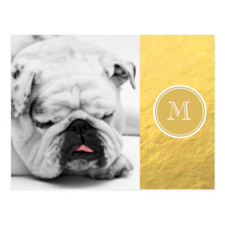 Glamour Gold Foil Background Monogram Postcard