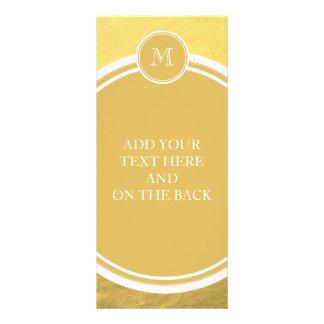 Glamour Gold Foil Background Monogram Rack Card