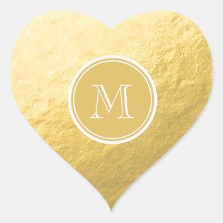 Glamour Gold Foil Background Monogram Wedding Heart Sticker