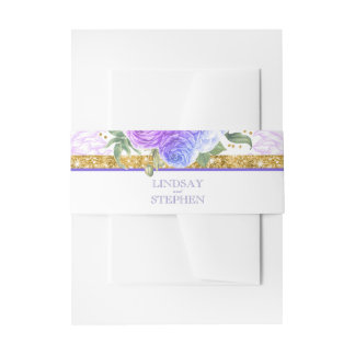 Glamour Gold Glitter Blue and Purple Floral Invitation Belly Band