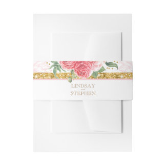 Glamour Gold Glitter Pink Flowers Chic Wedding Invitation Belly Band