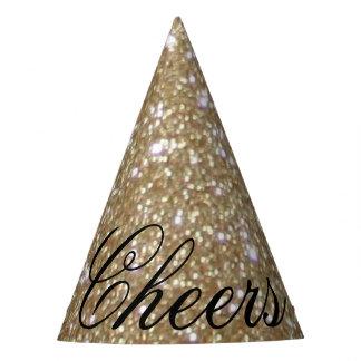 Glamour golden Glitz Bokeh lights gold glitter Party Hat