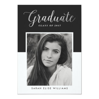 Glamour Graduation Invitations   Silver
