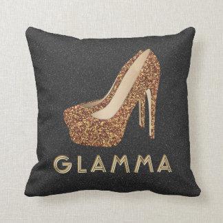 Glamour Grandma Glamma Gold Glitter High Heels Cushion