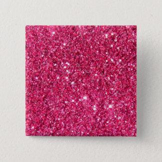 Glamour Hot Pink Glitter 15 Cm Square Badge