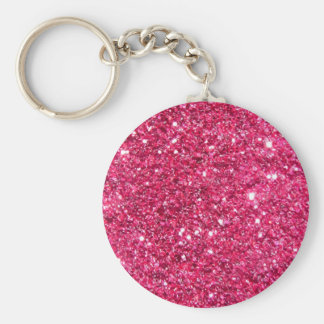Glamour Hot Pink Glitter Basic Round Button Key Ring