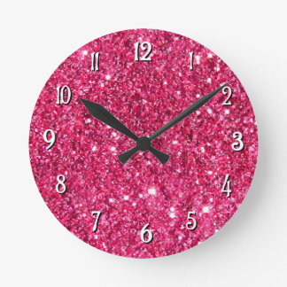 Glamour Hot Pink Glitter Clock