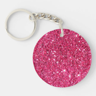 Glamour Hot Pink Glitter Double-Sided Round Acrylic Key Ring