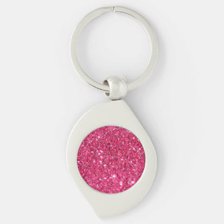 Glamour Hot Pink Glitter Silver-Colored Swirl Key Ring