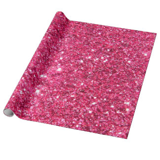 Glamour Hot Pink Glitter Wrapping Paper