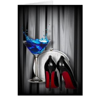 glamour martini cocktail party girl stilletos card