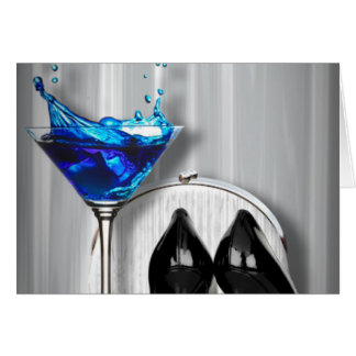 glamour martini cocktail party girl stilletos greeting card