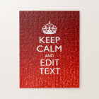 Glamour Red Festive Personalised Keep Calm Jigsaw Puzzle