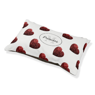 Glamour Red Glitter sparkles Hearts Monogram Pet Bed