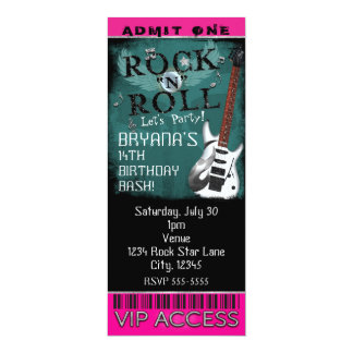 Glamour Rock N Roll Star Birthday Ticket VIP Party 10 Cm X 24 Cm Invitation Card