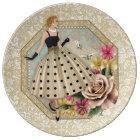 Glamourous 50's Fashion, Decorative Porcelain Plate