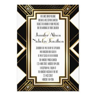 Glamourous Art Deco Geometric Wedding Invitation