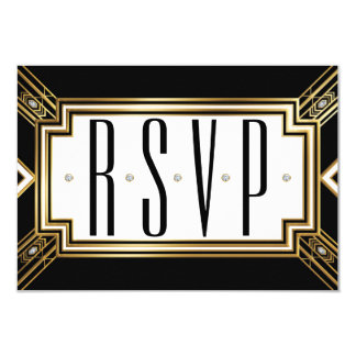 Glamourous Art Deco Geometric Wedding RSVP 9 Cm X 13 Cm Invitation Card