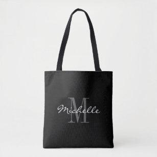 Glamourous black and white monogram tote bag