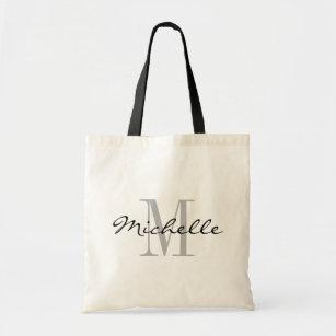 Glamourous black and white name monogram tote bags