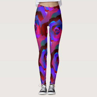 Glamourous dark red purple blue abstract rose leggings
