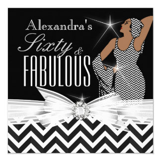 Glamourous Fabulous 60 Chevron Black White Card