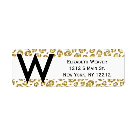 Glamourous Faux Sparkly Gold Leopard Return Address Label