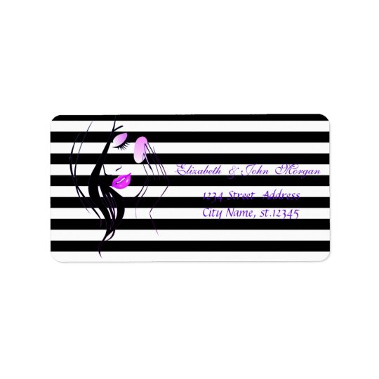 Glamourous Girl Silhouette, Stripes Address Label