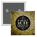 Glamourous Glitter Happy 50th Birthday 2 15 Cm Square Badge