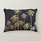 Glamourous Gold Tropical Palm Trees on Black Decorative Cushion