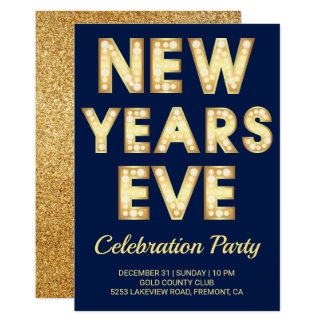Glamourous Gold Typography New Year's Eve Party Card