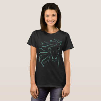Glamourous Mane Horse Pony Art Drawing Outline T-Shirt