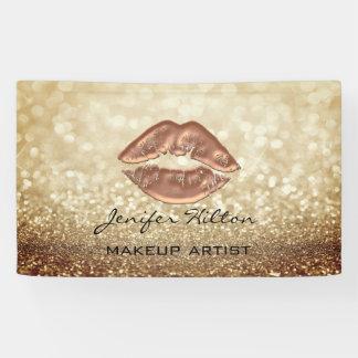 Glamourous modern chic faux glittery rosegold lips