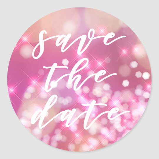 Glamourous Pink Sparkle | Save the Date Stickers