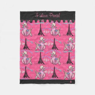 Glamourous Poodle in Paris on Pink (Personalised) Fleece Blanket