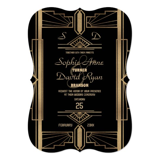 Glamourous Roaring 20's Great Gatsby Wedding Card