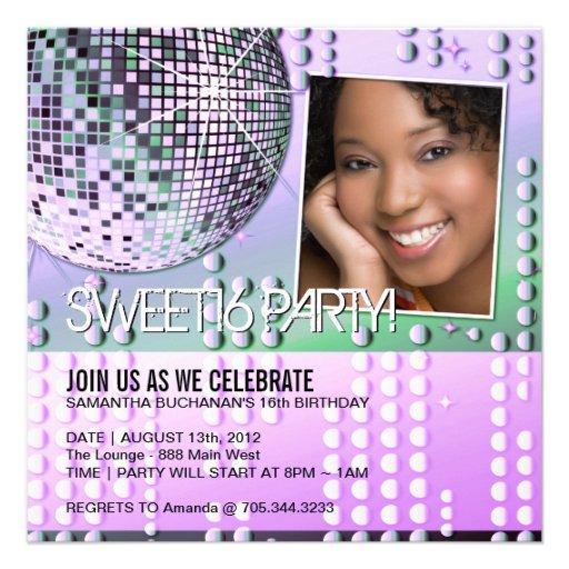 Glamourous Sweet Sixteen Disco Ball Invitation